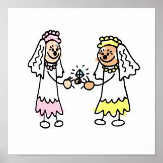 Lesbian Cute Brides Poster