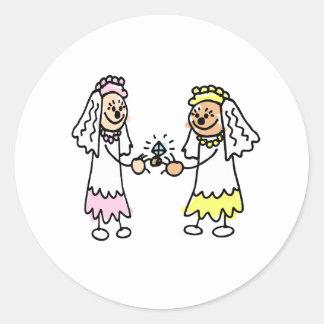 Lesbian Cute Brides Classic Round Sticker