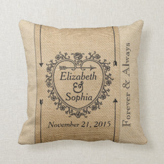 Lesbian Fancy Burlap Anniversary Date Heart Throw Pillows