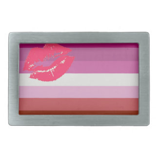 LESBIAN FLAG ORIGINAL -.png Rectangular Belt Buckle