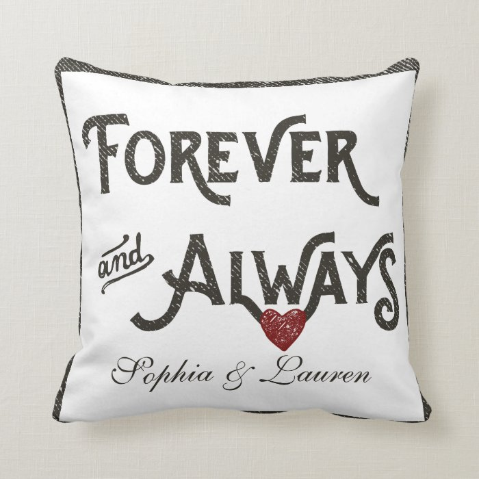 Personalized Heart Throw Pillow : Lesbian Forever Always Heart Personalized Throw Pillow Zazzle