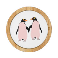 Lesbian Gay Pride Penguins Holding Hands Round Cheeseboard