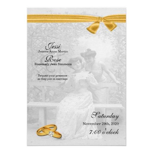 Lesbian / Gay Wedding Invitation Two Brides