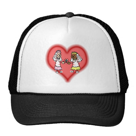 Lesbian Interracial Brides Mesh Hat