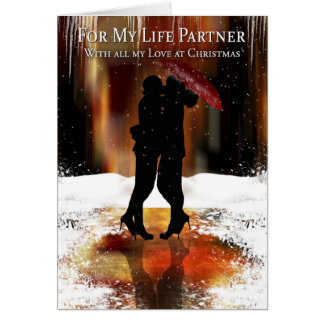 Lesbian Life Partner Holiday Card With Couple