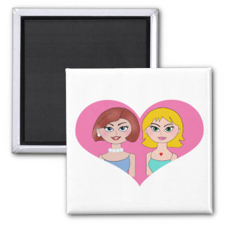 Lesbian Love 2 Inch Square Magnet