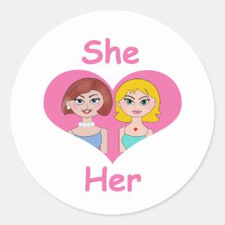 Lesbian Love Classic Round Sticker