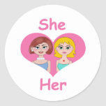 Lesbian Love Round Stickers