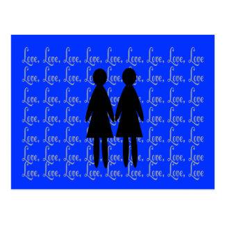 """lesbian """"LOVE"""" Silhouettes Postcard"""