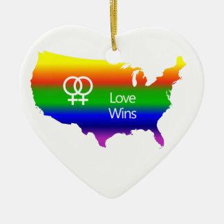 Lesbian Love Wins Ceramic Ornament