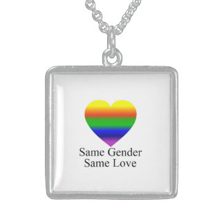 Lesbian Love Wins Square Pendant Necklace