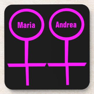 Lesbian Lovers Customizable Cork Coaster