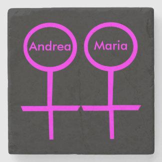 Lesbian Lovers Customizable Stone Coaster