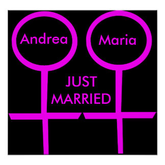 Lesbian Lovers Just Married Customizable Poster