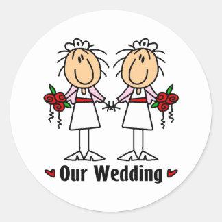 Lesbian Marriage Classic Round Sticker