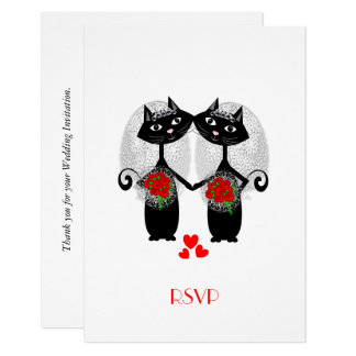 Lesbian Marriage Cool Cat Cute Brides Wedding Card