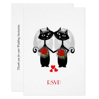 Lesbian Marriage Cool Cat Cute Brides Wedding Invitation