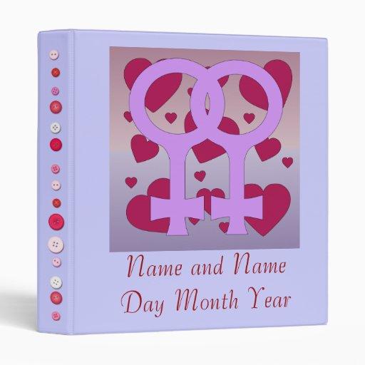 Lesbian Marriage Hearts Vinyl Binders