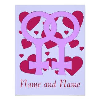 Lesbian Marriage Hearts Card