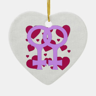 Lesbian Marriage Hearts Ceramic Ornament