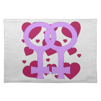 Lesbian Marriage Hearts Cloth Placemat