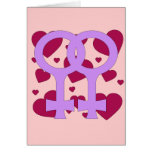 Lesbian Marriage Hearts Greeting Card