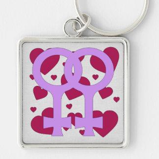Lesbian Marriage Hearts Keychain