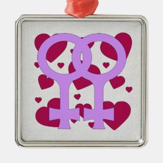 Lesbian Marriage Hearts Metal Ornament