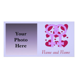 Lesbian Marriage Hearts Picture Card