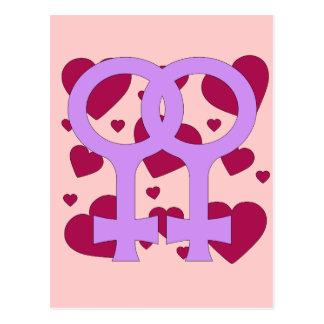 Lesbian Marriage Hearts Postcard