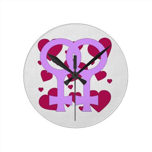 Lesbian Marriage Hearts Round Wall Clock