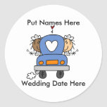 Lesbian Marriage To Customize Round Stickers