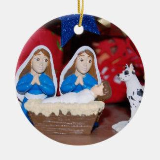 Lesbian Nativity: Love Makes a Holy Family Ceramic Ornament