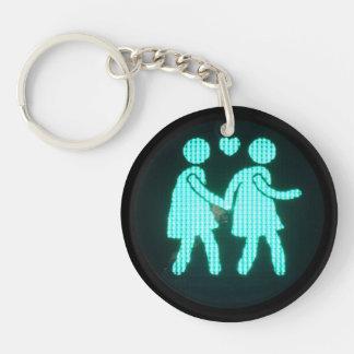 Lesbian Pedestrian Signal Keychain (Acrylic)