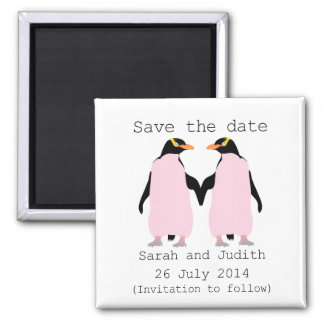 Lesbian, Penguins holding hands save the date 2 Inch Square Magnet