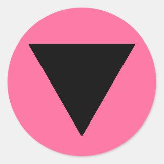 Lesbian Pride Black Triangle Classic Round Sticker
