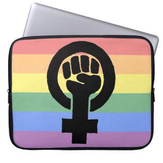 Lesbian Pride Feminist Fist Faded Rainbow Computer Sleeve