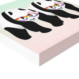Lesbian Pride Pandas Canvas Print