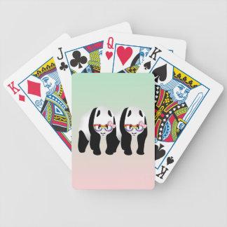 Lesbian Pride Pandas Wearing Rainbow Glasses Bicycle Playing Cards