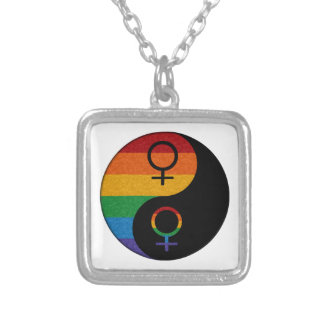 Lesbian Pride Yin and Yang Square Pendant Necklace