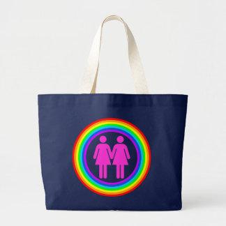 Lesbian Rainbow Couple Canvas Bag
