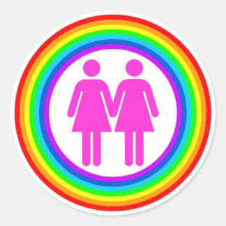 Lesbian Rainbow Couple Classic Round Sticker