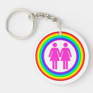 Lesbian Rainbow Couple Double-Sided Round Acrylic Keychain