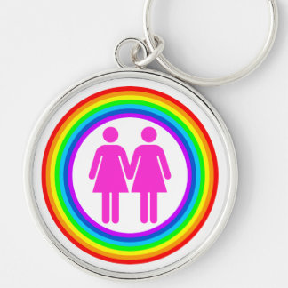 Lesbian Rainbow Couple Keychain
