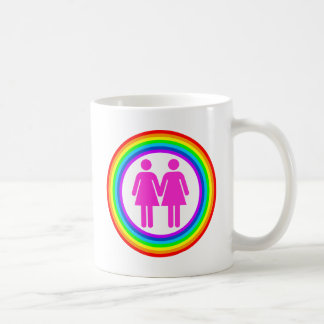 Lesbian Rainbow Couple Classic White Coffee Mug
