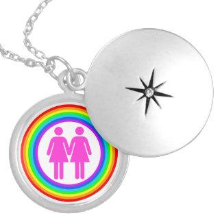 Lesbian Rainbow Couple Round Locket Necklace