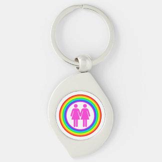 Lesbian Rainbow Couple Silver-Colored Swirl Metal Keychain
