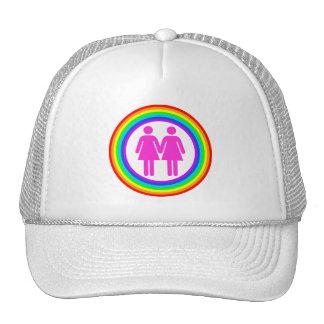 Lesbian Rainbow Couple Trucker Hat
