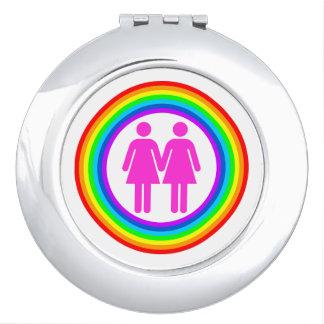 Lesbian Rainbow Couple Vanity Mirrors