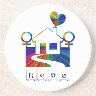 Lesbian Rainbow Home -LOVE Beverage Coasters